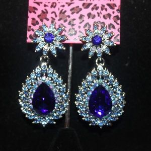 Silver Plated AB & Agua Crystal's, Earrings, Post